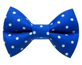 "Cat Bow Tie - ""The Campaign Trail"" -  Blue White Dot"