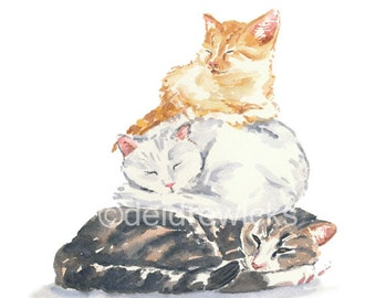 Cat Watercolor PRINT - 11x14 Print, Cat Nap, Nursery Art, Cat Illustration