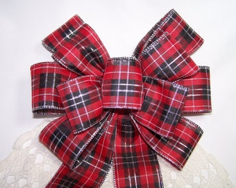 Red Plaid Bow with Black and Silver Handmade Great for Wreaths Holiday Valentines Day Decoration Gift Wedding Pew Bows
