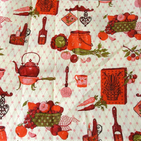 Vintage Fabric Yardage Red Pink Green Kitchen Theme Cotton Or