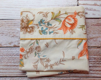 RESERVED / Vintage Pillowcase / Cream, Orange & Aqua Floral / Vintage Pillowcase