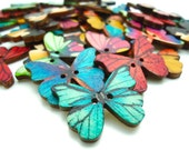 5 x Butterfly Buttons - Wooden Buttons - Craft Supplies - Jewellery Making - 28mm