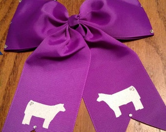 Custom bling hair bows with show cattle your choice
