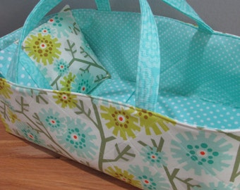 Doll Carrier, Bitty Baby Size, Bright Modern Flowers with Aqua Lining