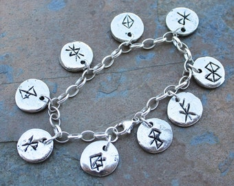 Deluxe Viking Anglo Saxon runic charm bracelet- bind runes,  chunky sterling silver chain - rune magic- free shipping in USA