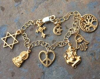Luxe Gold Religions Coexist Charm Bracelet- Buddha, Star of David, Peace Sign, Ganesha, Hamsa Hand, Tree of life, Cross, Star & Crescent