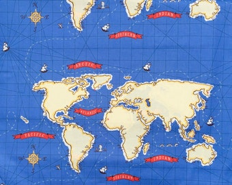 """Sarah Jane Out to Sea World Map blue fabric 24"""" panel OOP HTF"""
