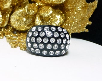 Black Lucite Rhinestone Ring - Wide Band - Vintage Mod Lucite Plastic Ring