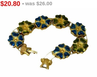 Enamel Flower Slider Vintage Bracelet Blue & Green