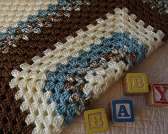 Crocheted Boy Baby Blanket in Shades of Brown Blue Tan and Cream with a Thin Border
