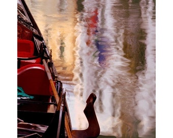 """Fine Art Color Travel Photography of Venice - """"Gondola and Abstract Reflection"""""""