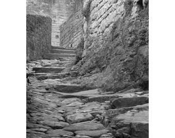 """Fine Art Black & White Photography of Medieval French Village - """"Climbing the Steps of Beynac"""""""