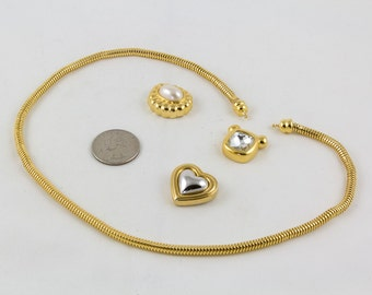 Vintage Gold Necklace Snake Chain Joan Rivers, Three interchangeable pendants Faux pearl, hemitite and faceted rhinestone