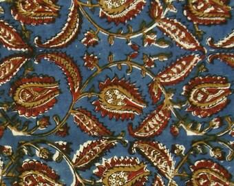 Block Print Fabric - Red and Ochre Floral Pattern on Blue Kalamkari Print 1 Yard - ctjp191
