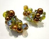 Vintage Crown Trifari Bubble Bead Brown Faux Pearl Earrings