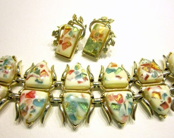 Vintage Confetti Bracelet Set Cream White Coro Signed Clip Earrings Pink Teal Aqua Blue Gift for Her Gift for Mom Under 50 Jewelry