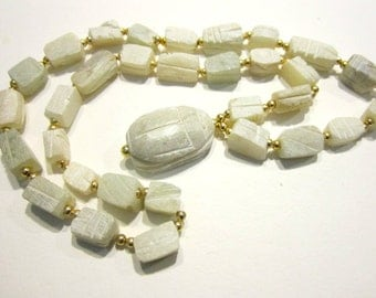 Vintage White Soap Stone Scarab Necklace Gold Bead Long Necklace Egyptian Jewelry Beetle Necklace