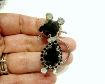 Vintage Black Rhinestone Mouse Brooch Black Clear Rhinestone Pin Large Figural Pin