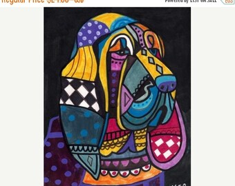 Marked Down 50% - Bloodhound Art Dog art dog Poster Print of painting by Heather Galler (HG194)