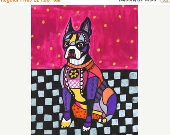55% Off- Boston Terrier art Art Print Poster by Heather Galler