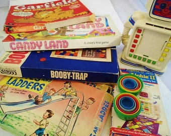 Vintage Board Games lot Color Forms Booby Trap Garfield Candy Land Chutes and Ladders Alphie II Kittie in the Kegs50s 60s 70s 80s