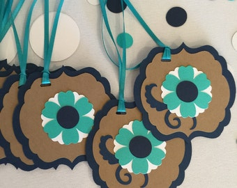Flower Gift Tag, Handmade Party Favor Gift Tag, Flower Tag, Favor Gift Tag, Blue Flower Wedding Tag