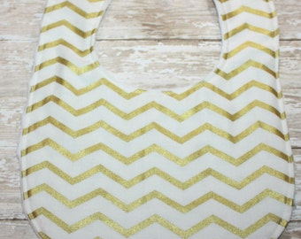 Baby Bib, Gold and White Chevron Baby Bib, Baby Girl Bib, Baby Boy Bib, Minky Baby Bib, Personalized Bib, Monogram Bib