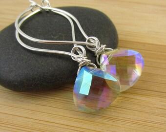 Clear Glass Earrings Leaf Hoops Teardrop Briolette Earrings Sterling Silver Hoops White Earrings Aurora Borealis Clear Crystal Earrings