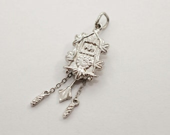 Gorgeous Vintage Sterling Silver (Rhodium Plated for Shine) Cuckoo Clock Charm