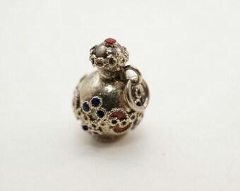 Vintage Etruscan Sterling/Enamel Pot/Urn Charm
