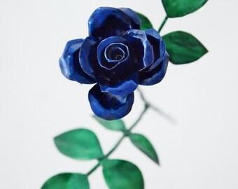 Tiny Blue Copper Rose Metal Sculpture