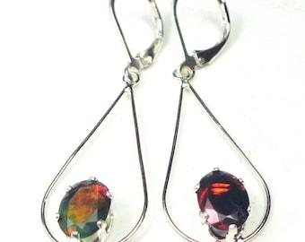 Ethiopian Welo, Faceted Black Opal Earrings,Sterling Silver, Red, Orange,Green, Blue Color Play, Drop Earrings,Sterling Silver Lever Backs