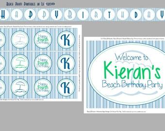 Beach Birthday Party PRINTABLES Beach Themed - DIY Printable Beach Birthday Collection