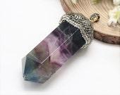 Large Rainbow Fluroite Crystal Pendant - Rhinestone Pave Pendulum Point Charm - DIY Boho Jewelry Supplies - Natural Gemstone Findings Bail