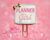 Planner Girl Glitter Paperclip in white, pink, and aqua