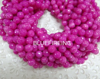 37 pcs 10mm faceted round hot pink color jade beads