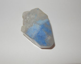 Dumortierite in Quartz crystal- tumbled