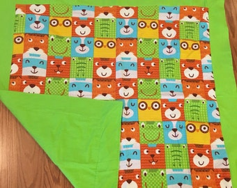 Animal Faces receiving blanket ** Gift for new Mom ** Baby Shower Gift  ** Gift for Mothers Day