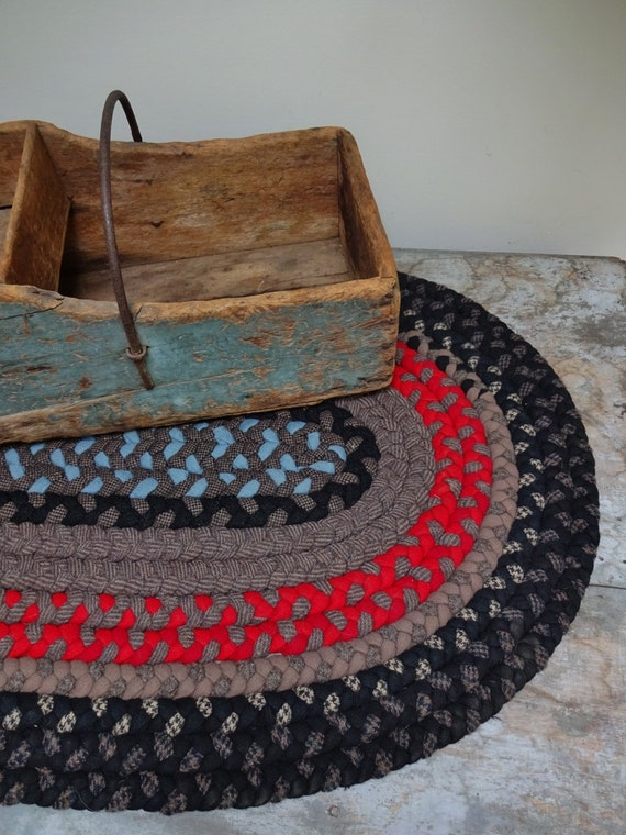 Vintage Handmade Small Wool Braided Rug