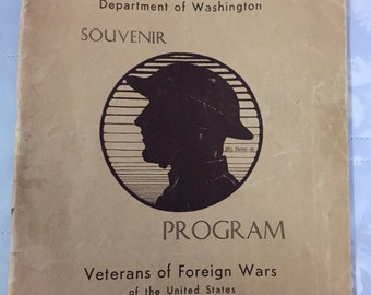 1933 Veterans of Foreign Wars Tacoma Washington Souvenir Program June 1933 Tacoma advertisements photos 13th Encampment booklet 48 pages