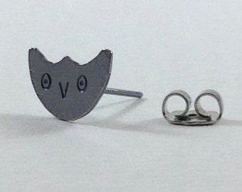 Owl Post Earrings, Sterling Silver, Handmade