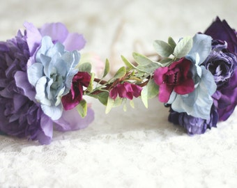 Floral Crown - Floral Halo -  Purple and Blue Tones - Photography Prop