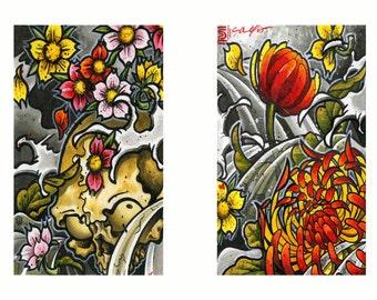 Chrysanthemum and Skull Set Fine Art Prints