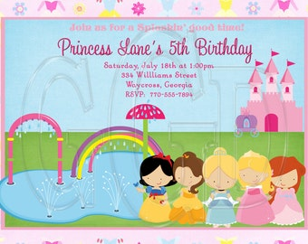 Princess Splash Pad invite, splash pad Party Invitation, princess splash pad birthday, splash pad invite, princess invitation -Digital File