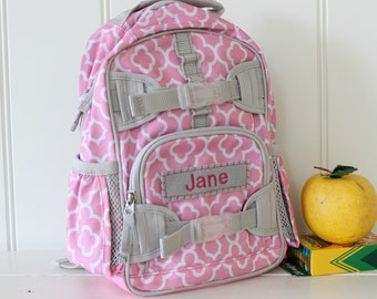 Mini Baby Backpack Pottery Barn (Mini Size) -- Pink/Gray Geo