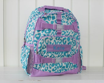 Small Girls Backpack With Monogram (Small Size) -- Aqua/Purple Cheetah