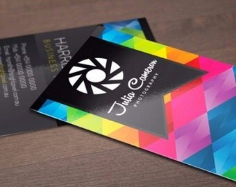 """100 Business Cards or hang tags - 3.5""""X2"""" - 14 PT glossy - custom printed UV coated"""