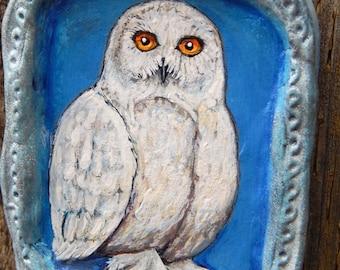 SNOWY OWL Xmas Ornies Hand Painted Christmas Ornaments Owl Decor Winter Decorations Birds of Prey Yule Celebration Animal Art