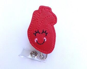 Retractable badge holder - Healthy Heart - red marine vinyl heart badge reel - cardiologist cardiology cardiovascular nurse badge reel