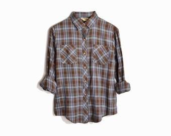 Vintage Woodsy Plaid Shirt in Brown & Blue - women's medium